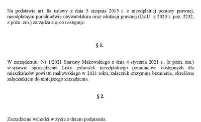 Lista jednostek nieodpłatnego poradnictwa dostępnych dla mieszkańców powiatu makowskiego w 2021 roku
