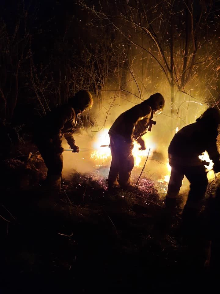 OSP w Bisztynku, ogień za cmentarzem w Bisztynku