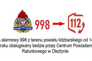 Przełączenie numeru alarmowego 998 do CPR 112