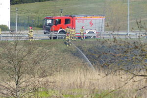 Strażacy gasili pożar trawy [ZOBACZ ZDJĘCIA]