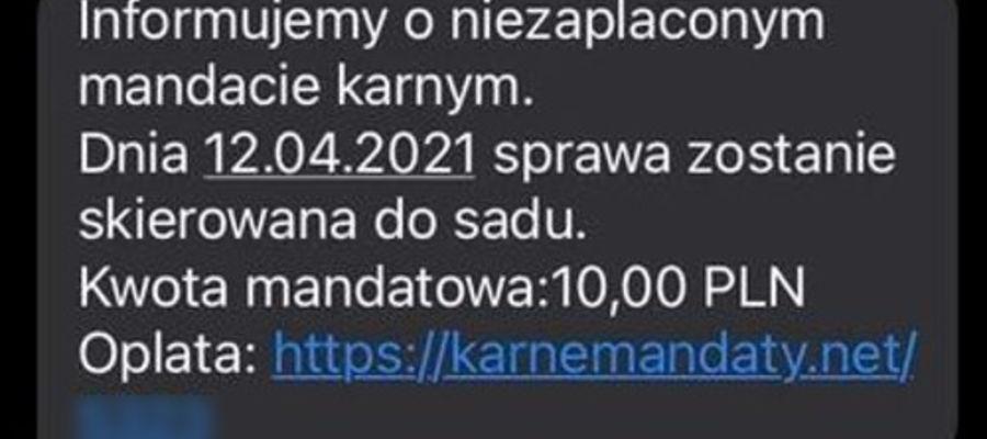SMS o niezapłaconym mandacie?
