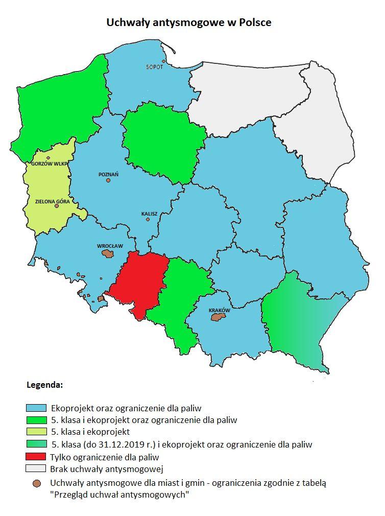 Rys. Ograniczenia wynikające z wprowadzonych w Polsce Uchwał antysmogowych; stan na luty 2021 r.