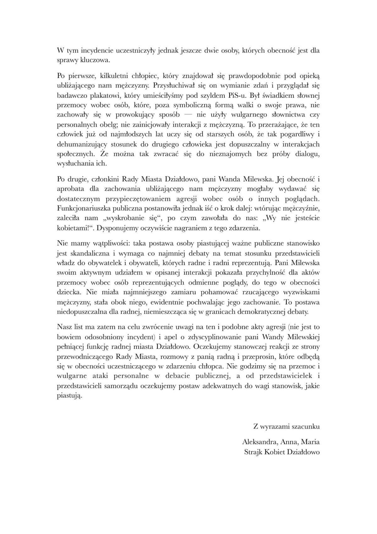 List otwarty do Przewodniczącego Rady Miasta Działdowo Strona 2
