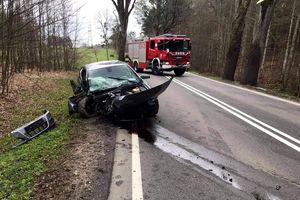 O krok od tragedii: 18-latek uderzył w drzewo. Prawo jazdy miał od miesiąca