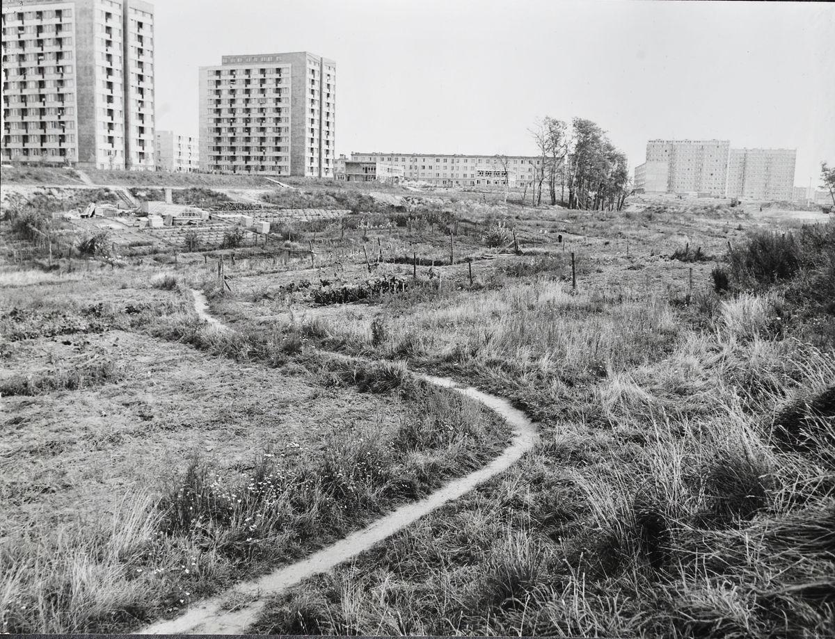 Park Czynu Partyjnego (obecnie Park im. Janusza Kusocińskiego) – na drugim planie widać powstający budynek Szkoły Podstawowej nr 3 w Olsztynie, 1. połowa lat 70. XX wieku