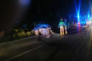 Wypadek między Mrocznem a Gwiździnami. Z samochodu nie zostało prawie nic [ZDJĘCIA]