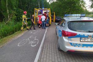 Rowerzystki z urazami po czołowym zderzeniu