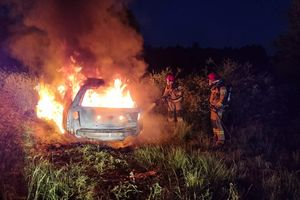 Samochód w płomieniach. Nocna akcja strażaków