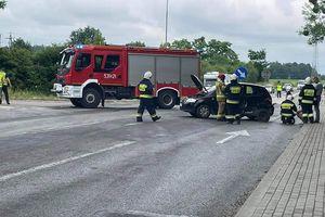 Wypadek na DK15. Jedna osoba została ranna