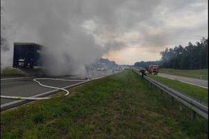 Pożar na trasie Warszawa-Gdańsk