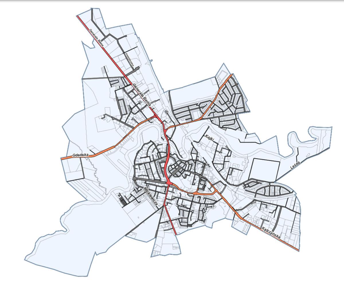 Na mapie możemy znaleźć drogi oraz ich zarządców