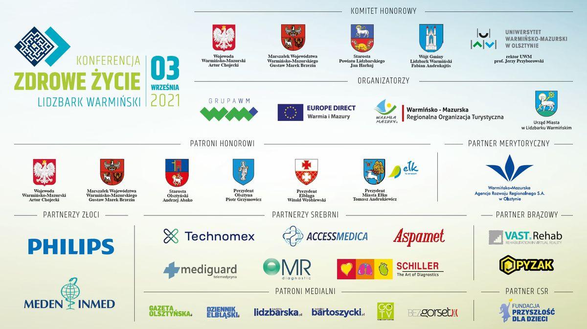Organizatorzy, Partnerzy i Sponsorzy konferencji ZDROWE ŻYCIE - Lidzbark Warmiński, 3 września 2021.