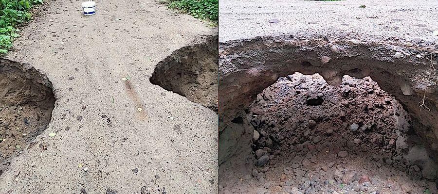 Zniszczony fragment drogi między Ignalinem a Workiejmami